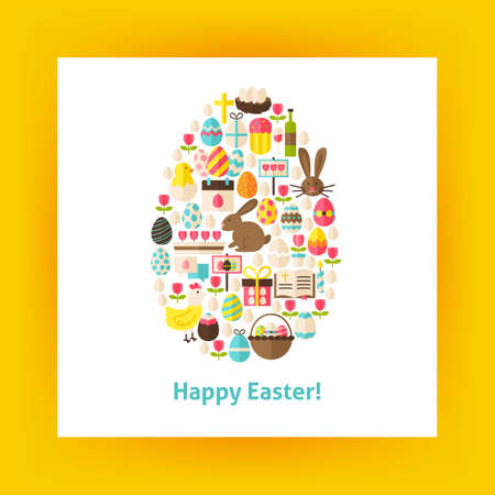 egg shaped: Flat Egg Shaped Vector Set of Happy Easter Objects. Collection of Spring Religious Holidays Items Isolated over white. Design Elements over Paper Template. Illustration