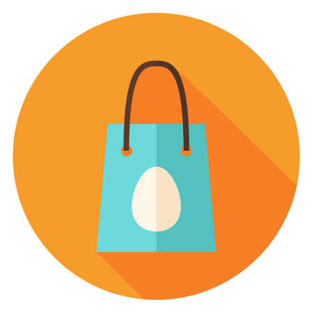 holiday shopping: Spring Shopping Bag with Easter Egg Circle Icon. Flat Design Vector Illustration with Long Shadow. Spring Christian Holiday Symbol.