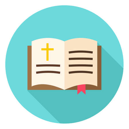 holy bibles: Open Bible Book with Bookmark and Cross Circle Icon. Flat Design Vector Illustration with Long Shadow. Christian Book Symbol. Illustration
