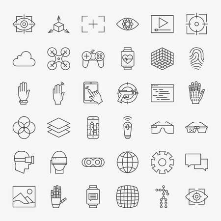 Line Virtual Reality Design Icons Big Set. Vector Set of Modern Thin Line Icons for Innovation and Technology Augmented Reality gadgets.