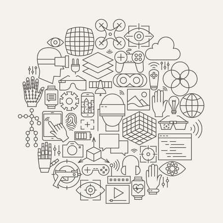 Realidad Virtual Línea Forma set de iconos de círculo. Ilustración vectorial de la moderna tecnología de Realidad Aumentada Gadgets objetos.
