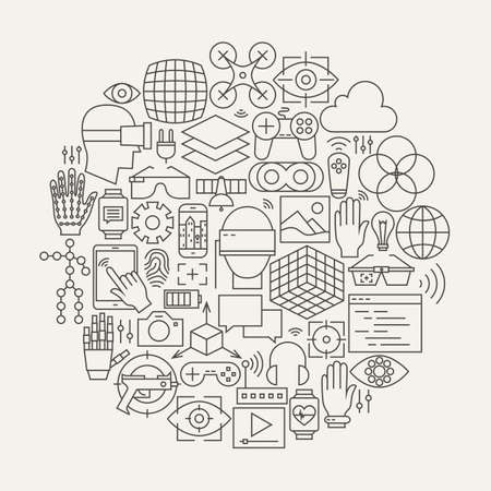 Virtual Reality Line Icons Set Circle Shape. Vector Illustration of Technology Moderne Augmented Reality Gadget Objects.