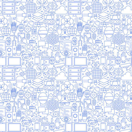 Thin Line Virtual Reality White Seamless Pattern. Vector Website Design and Seamless Background in Trendy Modern Outline Style. Augmented Reality Technology.  イラスト・ベクター素材
