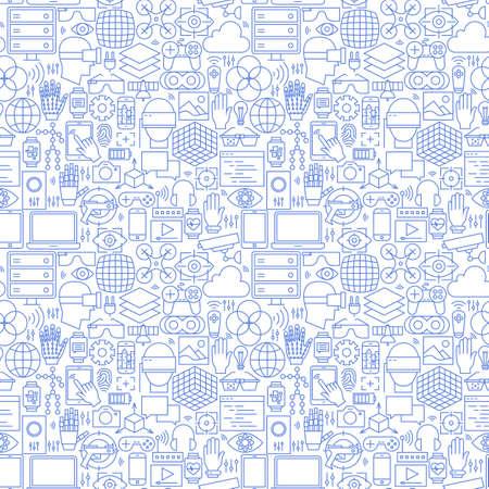 얇은 라인 가상 현실 화이트 원활한 패턴. 벡터 웹 사이트 디자인 및 유행 현대 개요 스타일에 원활한 배경입니다. 증강 현실 기술.