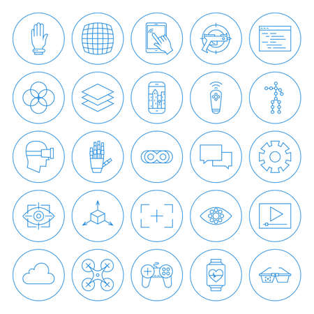 Line Circle Virtual Reality Icons Set. Vector Set of Modern Innovation Technology Thin Line Icons of Augmented Reality Circle Shaped Isolated over White Background.