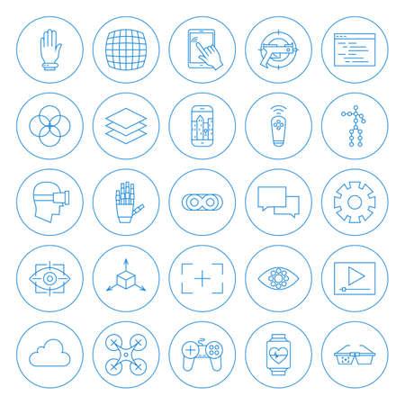 Iconos del círculo de línea de Realidad Virtual Set. Vector Conjunto de modernos de innovación tecnológica Línea fina iconos de círculo de Realidad Aumentada en forma aislada sobre fondo blanco. Ilustración de vector