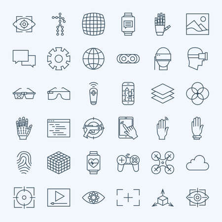 Line Virtual Reality Icons Set. Vector Set of Modern Thin Line Icons for Innovation and Technology Augmented Reality gadgets. Vettoriali