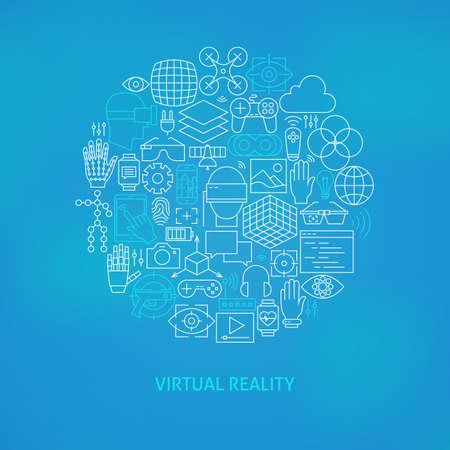 Thin Line Réalité Virtuelle Icons Set Cercle Concept. Illustration Vecteur de Gadgets de réalité augmentée de la technologie moderne sur fond bleu flou. Vecteurs
