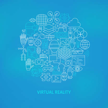 Thin Line Virtual Reality Icons Set Circle Concept. Vector Illustration of Technology Modern Augmented Reality Gadgets over Blue Blurred Background.