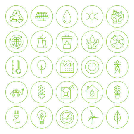 Line Circle Go Green Environment Icons. Set of Modern Eco Friendly Thin Line Icons of Ecology Circle Shaped Isolated over White Background. Vettoriali
