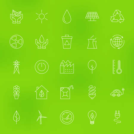 termometer: Save the Nature Eco Line Icons Set over Blurred Background. Set of Modern Thin Outline Ecology Green Energy Items.