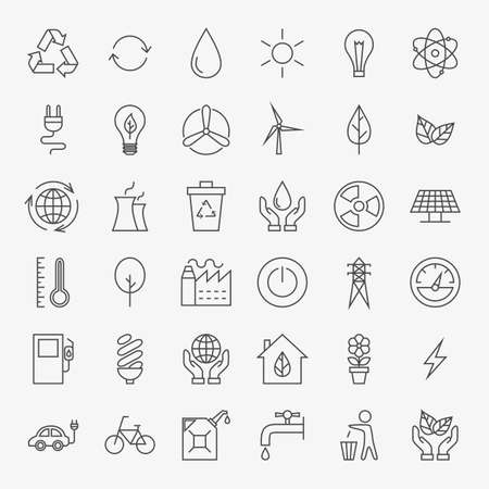 Ecology Line Art Design Icons Big Set. Set of Modern Thin Outline Icons for Green Energy Eco Friendly Items.