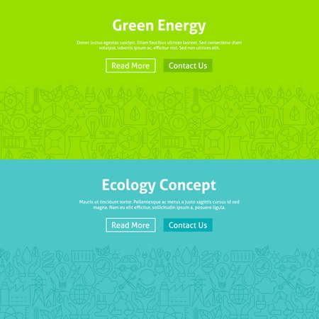 Ökologie Green Energy Line Art Web-Banner-Set. Illustration für Website-Banner und Landingpage. Eco Power und Umwelt Modernes Design. Vektorgrafik