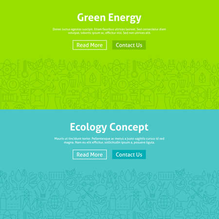 energy buttons: Ecology Green Energy Line Art Web Banners Set. Illustration for Website banner and landing page. Eco Power and Environment Modern Design.