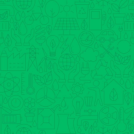 green environment: Thin Line Green Power Eco Seamless Pattern. Website Design and Tile Background in Trendy Modern Outline Style. Environment and Ecology.