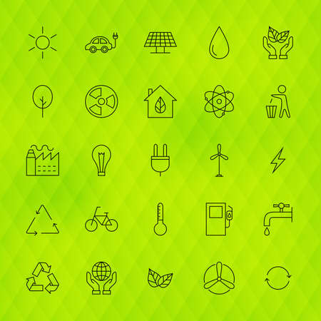 zero emission: Ecology Environment Line Icons Set over Polygonal Background. Set of Modern Thin Outline Go Green Nature Items.