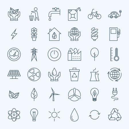 Línea Eco Green Energy conjunto de iconos. Conjunto de iconos modernos esquema fino de Ecología y Medio ambiente Naturaleza Artículos.