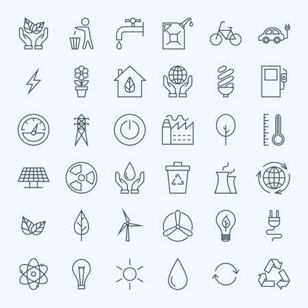 Line Green Energy Eco Icons Set. Set of Modern Thin Outline Icons for Ecology and Nature Environment Items. Vectores