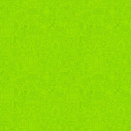 얇은 라인 친환경 친환경 녹색 원활한 패턴. 웹 사이트 디자인 및 유행 현대 개요 스타일에서 타일 배경. 환경과 자연.