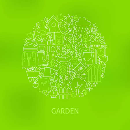 secateur: Thin Line Gardening and Flowers Icons Set Circle Concept. Illustration of Nature Garden Objects over Green Blurred Background.