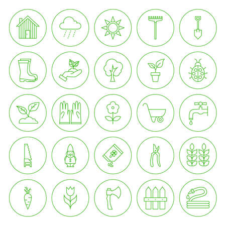 secateur: Line Circle Spring Gardening Tools Icons Set. Set of Modern Thin Outline Icons of Nature Flowers Circle Shaped Isolated over White Background.