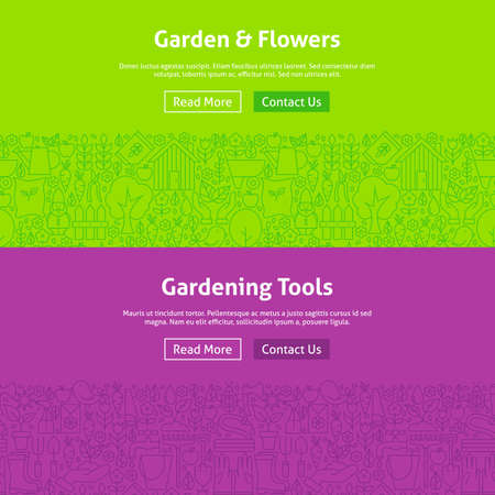 modern garden: Garden and Flowers Line Art Web Banners Set. Illustration for Website banner and landing page. Gardening Tools Modern Design.