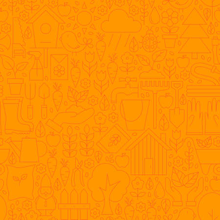 modern garden: Thin Line Orange Spring and Garden Seamless Pattern. Website Design and Seamless Background in Trendy Modern Outline Style. Nature and Gardening.