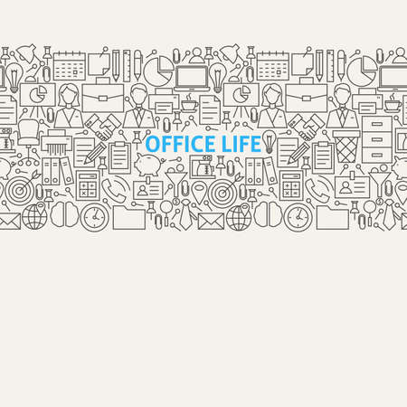 life line: Business Office Life Line Art Seamless Web Banner. Illustration for Website banner and landing page. Working Place and Job Modern Design.