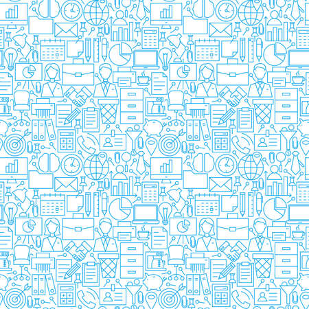 Thin Line Business Office White Seamless Pattern. Website Design and Seamless Background in Trendy Modern Outline Style. Working Place and Job. Çizim
