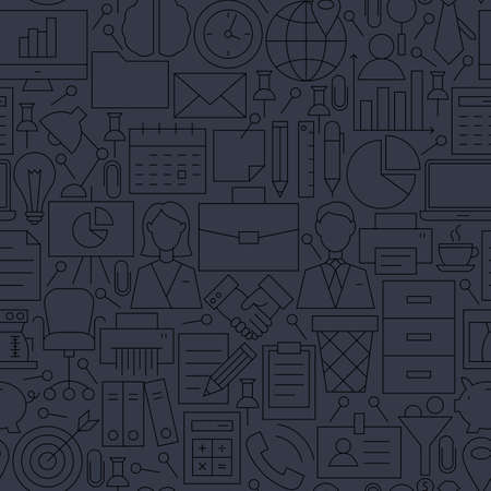 personal assistant: Thin Line Dark Grey Office Business Seamless Pattern. Website Design and Seamless Background in Trendy Modern Outline Style. Working Place and Job.