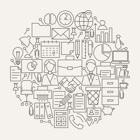 Business Office Line Icons Set Circle Shape. Illustration of Modern Working Place and Job  Objects.
