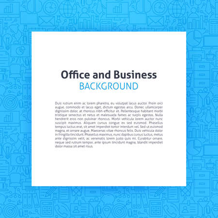 Paper over Office Business Line Art Background. Illustration of Piece of Paper over Working Place and Job Outline Modern Design.