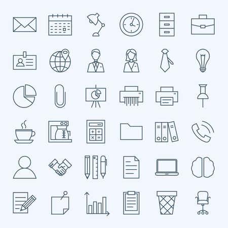 Línea iconos de negocios conjunto de la oficina. Conjunto de Lugar de Trabajo esquema fino moderno y objetos del trabajo. Ilustración de vector