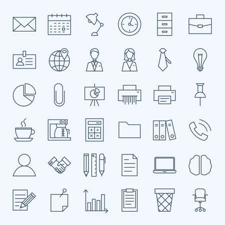 document icon: Line Business Office Icons Set. Set of Modern Thin Outline Working Place and Job Items.