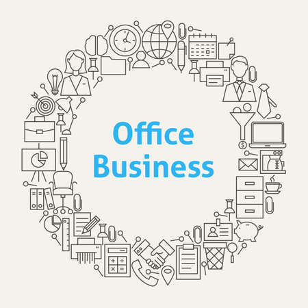 Office Life Line Art Icons Set Circle. Illustration of Business Objects. Workplace and Job Items.
