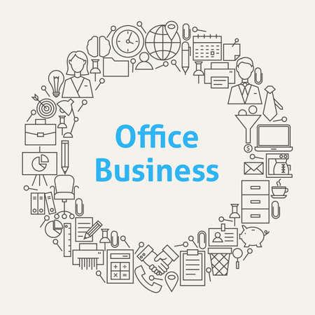 Office Life Line Art Icons Set Circle. Illustratie van Business Objects. Werkplek en Job Items.