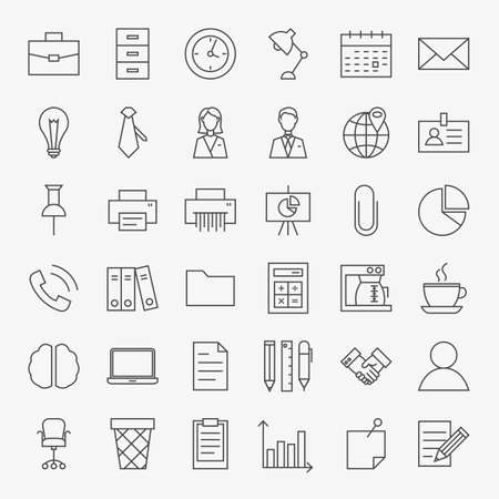 life line: Business Office Life Line Art Design Icons Big Set. Set of Modern Thin Outline Working Place and Job Items.