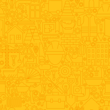 Thin Yellow Construction Line Seamless Pattern.  Website Design and Tile Background in Trendy Modern Outline Style. Building Equipment and Tools. Illustration