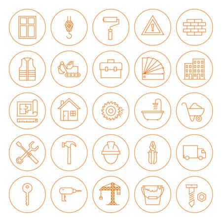 Linie Baumaschinen Icons Set. Set von modernen Thin-Kontur Ikonen der Industrial Tools Kreis geformt isoliert über weißem Hintergrund.