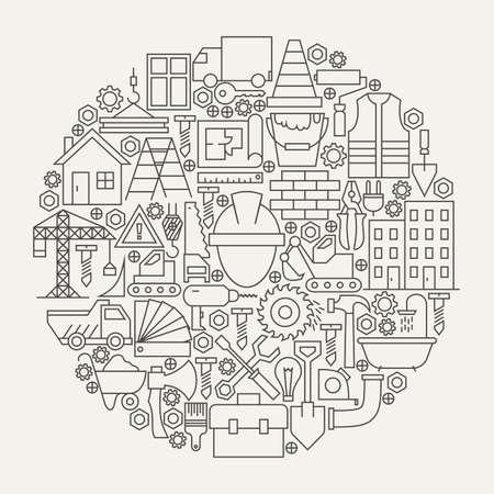 建設ツール ライン アイコン セット サークル形状。現代の建築機器オブジェクトのイラスト。