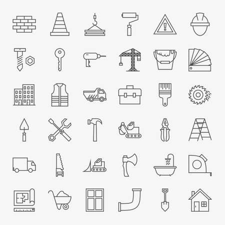 Building Construction Line Art Design Icons Big Set. Set of Modern Thin Outline Working Tools and Industrial Items.