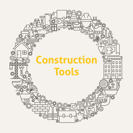 Construction Tools Line Art Icons Set Circle. Illustration of Business Objects. Building and Engineering Items.