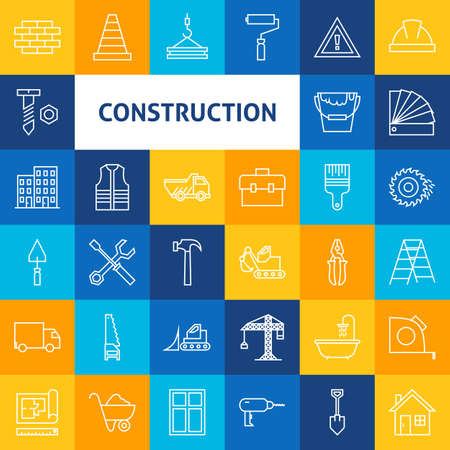 Line Art Construction Icons Set. Set of Modern Thin Outline Building and Working Items over Colorful Squares. Vettoriali