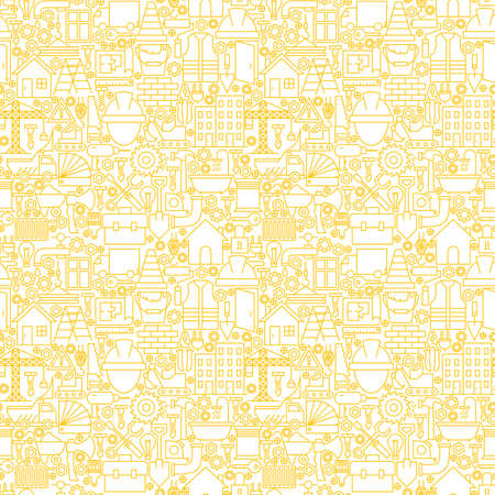 Thin Line Construction White Seamless Pattern. Website Design and Tile Background in Trendy Modern Outline Style. Building Equipment and Tools.