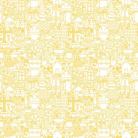 Thin Motif Ligne Construction Blanc Seamless. Conception de site Web de tuiles et de fond dans la mode moderne style de contour. Matériel de construction et outils.