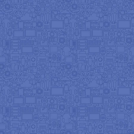 Thin Line Blue Gadgets and Devices Seamless Pattern. Vector Website Design and Seamless Background in Trendy Modern Outline Style. Technology and Electronics. Vettoriali