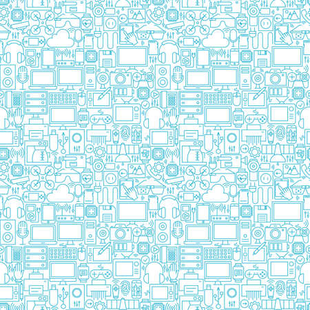 Thin Line Technology Gadgets White Seamless Pattern. Vector Website Design and Seamless Background in Trendy Modern Outline Style. Electronics and Devices. Ilustração