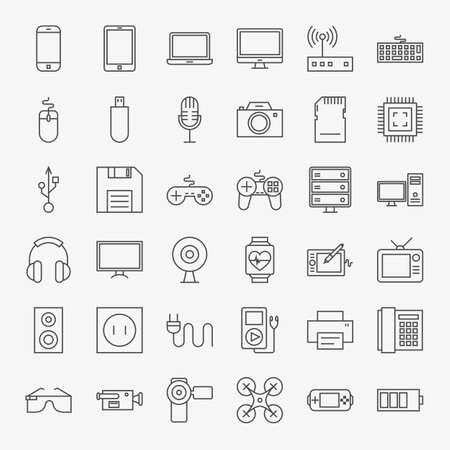 Aparatos y dispositivos Arte Iconos del diseño Conjunto Grande. Vector Conjunto de Tecnología Moderna esquema fino y artículos electrónicos. Ilustración de vector