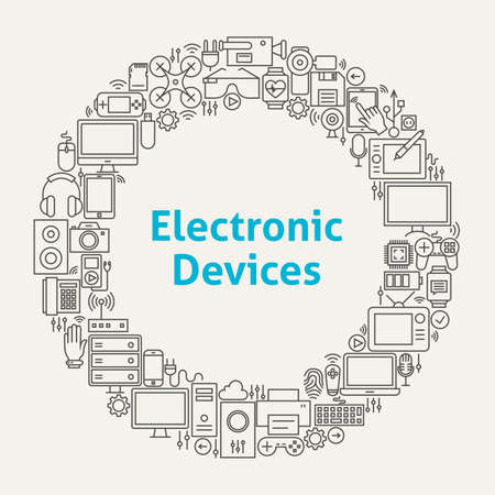 electronic: Electronic Devices Line Art Icons Set Circle. Vector Illustration of Technology and Gadgets Objects.