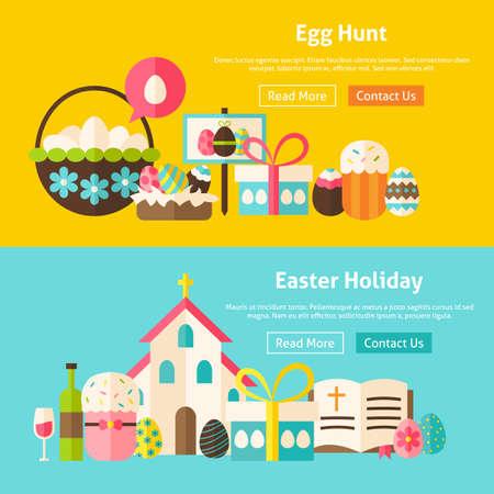 food basket: Happy Easter Flat Website Banners Set. Vector Illustration for Website banner and landing page. Spring Christian Holiday Modern Design.